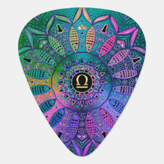 Zodiac Sign Libra Lotus Metallic Mandala Guitar Pick