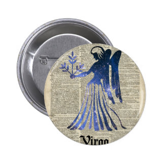 Zodiac Sign of Maiden Virgo Over An Old Book Page 2 Inch Round Button