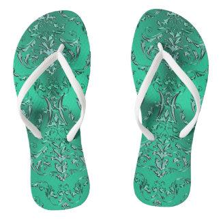 Zodiac Sign Pisces Metallic Green Damask Flip Flops