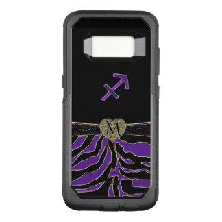 Zodiac Sign Sagittarius Purple Zebra Monogram Case