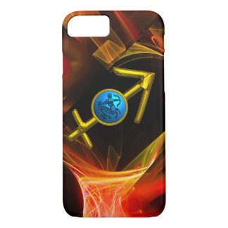 ZODIAC SIGN SAGITTARIUS,Red Yellow Fractal Swirls iPhone 8/7 Case