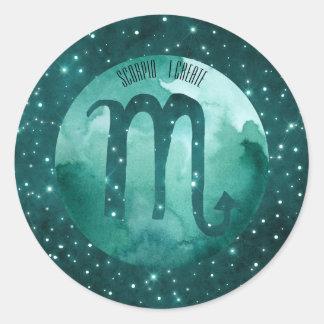 Zodiac Sign Scorpio on Starry Teal Sky Classic Round Sticker