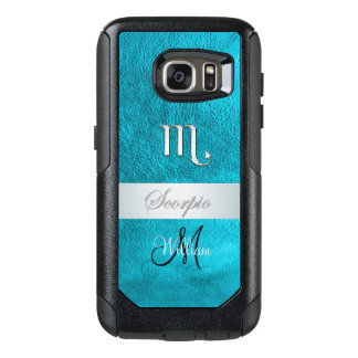Zodiac Sign Scorpio Teal Monogram Otterbox Case