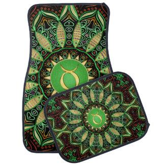 Zodiac Sign Taurus Mandala ~ Green Gold Car Mat