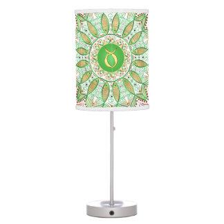 Zodiac Sign Taurus Mandala ~ Green Gold Desk Lamps