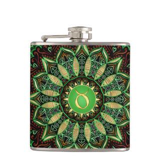 Zodiac Sign Taurus Mandala ~ Green Gold Hip Flask