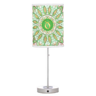 Zodiac Sign Taurus Mandala ~ Green Gold Table Lamp