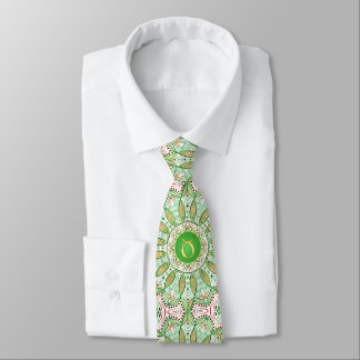 Zodiac Sign Taurus Mandala ~ Green Gold Tie