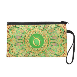 Zodiac Sign Taurus Mandala ~ Green Gold Wristlet Purse