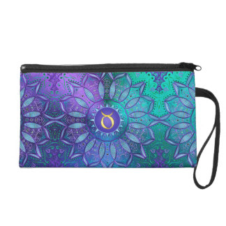 Zodiac Sign Taurus Mandala ~ Teal Purple Wristlet Clutches
