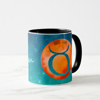 Zodiac Sign Taurus on Teal Starry Sky Mug