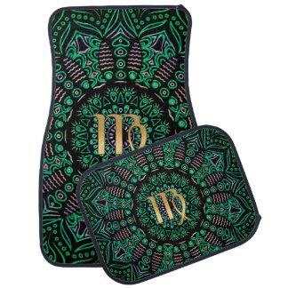 Zodiac Sign Virgo Green Mandala Car Mat