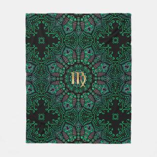 Zodiac Sign Virgo Green Mandala Fleece Blanket