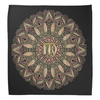 Zodiac Sign Virgo Mandala Earth Tones Bandana
