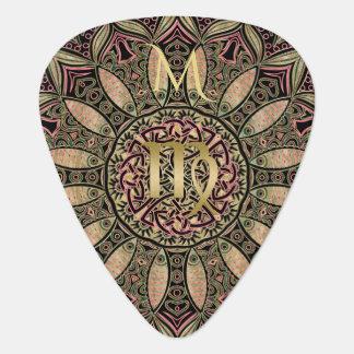 Zodiac Sign Virgo Mandala Earth Tones Guitar Pick