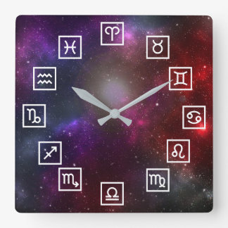 Zodiac Symbols on a Cosmic Starfield Square Wall Clock