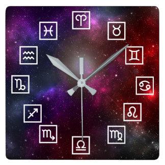 Zodiac Symbols on a Cosmic Starfield Wall Clock