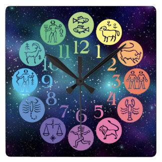 Zodiac Wheel Colorful Horoscope Signs Cosmic Wall Clocks
