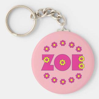 Zoe Flores Pink Basic Round Button Keychain