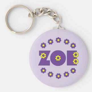 Zoe Flores Purple Basic Round Button Keychain