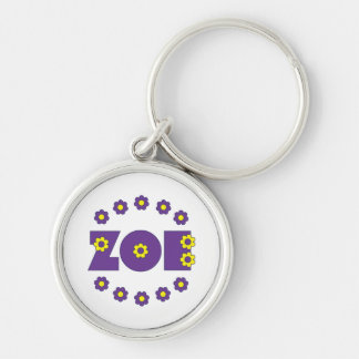 Zoe Flores Purple Silver-Colored Round Keychain