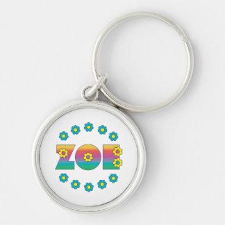 Zoe Flores Rainbow Silver-Colored Round Keychain