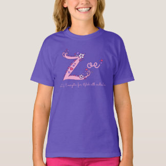 Zoe girls Z name meaning custom tee