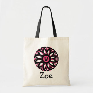 Zoe Happy Flower Personalized Tote Bag