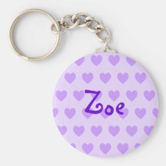 Zoe in Purple Basic Round Button Keychain