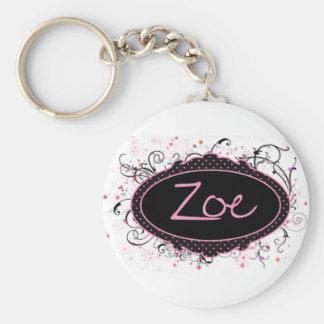 Zoe Nameplate Basic Round Button Keychain