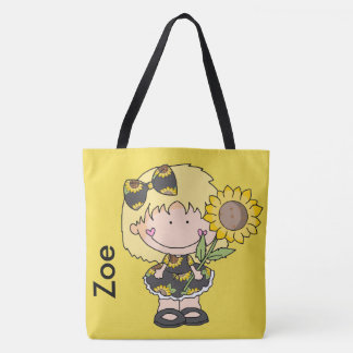 Zoe's Personalized Sunflower Tote Bag