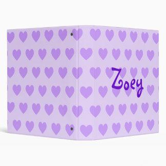 Zoey in Purple 3 Ring Binders