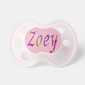 Zoey, Name, Logo, Baby Girls Pink Pacifier. Pacifiers
