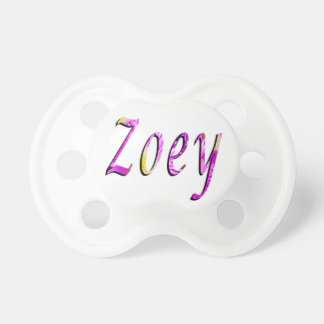 Zoey, Name, Logo, Baby Girls White Dummy. Pacifier