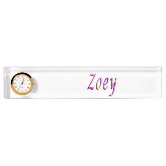 Zoey, Name, Logo, Desk Name Plate With Clock.