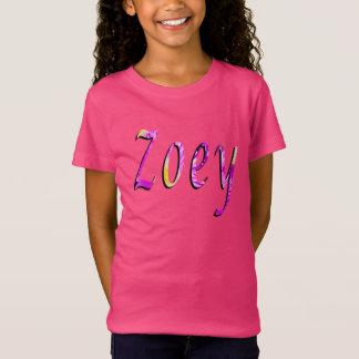 Zoey, Name, Logo, Girls Pink T-shirt