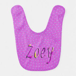 Zoey, Name, Logo, Pink Baby Bib. Bib