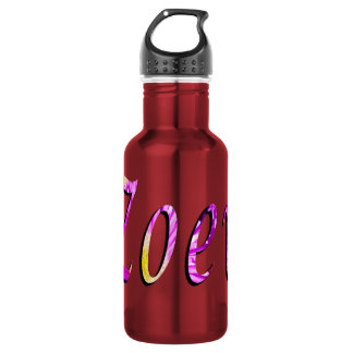 Zoey, Name, Logo, Red Aluminum Water Bottle
