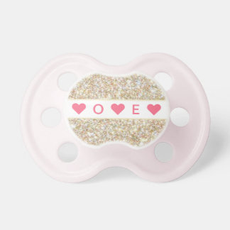 """Zoey"" Personalized Gold Sparkle Print Pacifiers"