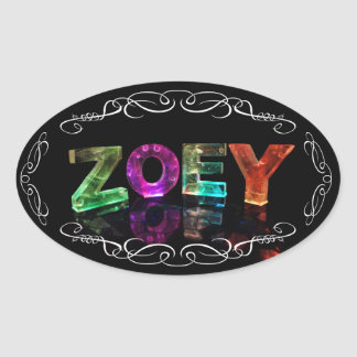 Zoey  - The Name Zoey in 3D Lights (Photograph) Oval Sticker