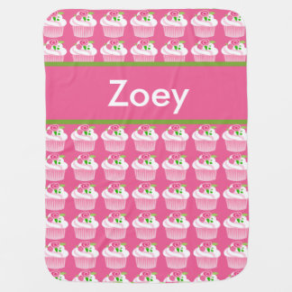 Zoey's Personalized Cupcake Blanket Receiving Blankets