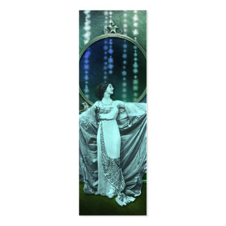 Zohara: Art Deco Woman in Aqua & Green Mini Business Card