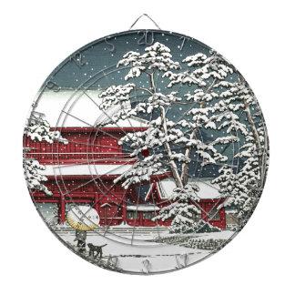 """""""Zojoji in Snow"""" by Kawase Hasui 川瀬 巴水 Dartboard"""