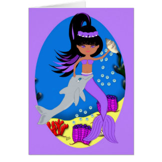 Zola the Mermaid and Dolphin Card