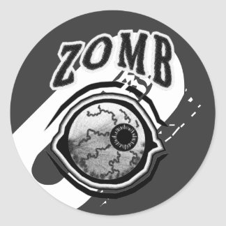Zomb - Eye - Ball  Black & White Round Sticker