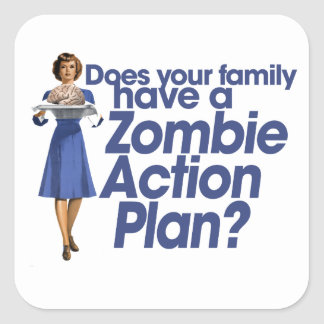 Zombie Action Plan Square Sticker