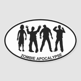 Zombie Apocalypse Oval Sticker