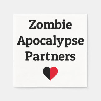 zombie apocalypse partners heart halves disposable napkin
