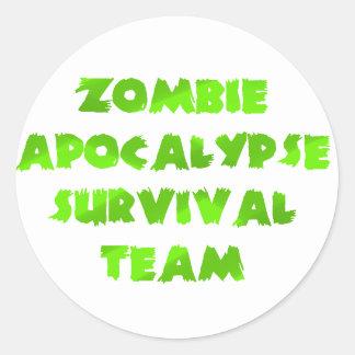 Zombie Apocalypse Survival Team in Green Classic Round Sticker