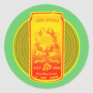 Zombie Approved Brain Water Brewed Beer! Classic Round Sticker